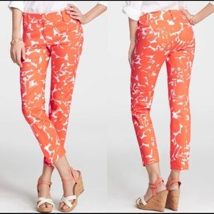 ann taylor orange Floral Print Carnegie Crop Pants